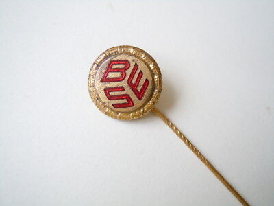 "Goldfarbene rot-emaillierte Anstecknadel Anstecker ""BSE"" 2,1 g"