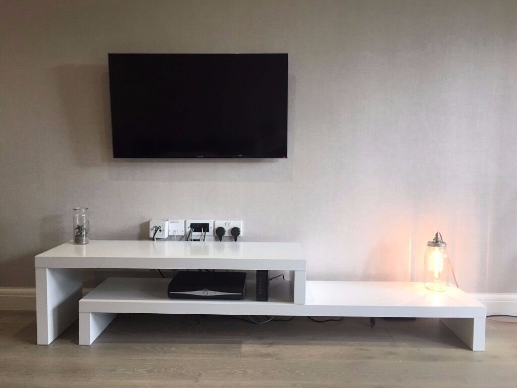 Beautiful White Tv Unit Modern Simple Two Level Table With  # Table Tv Simple