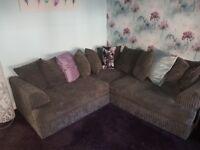 REDUCED- Dark Grey Cord Corner Suite