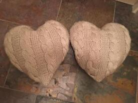 2x Next heart shaped cushions / pillows BARGAIN