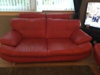 Red faux leather suite for sale, 3 seater and 2 seater