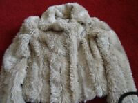 LADIES FUR JACKET (SIZE 10) AND GOLD SKIRT (SIZE 10)