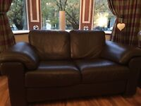 Natuzzi brown leather 3 seater and two seater for sale. Pick up only.