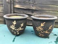 2 x Malaysian Vietnamese Garden Flower Plant Pots