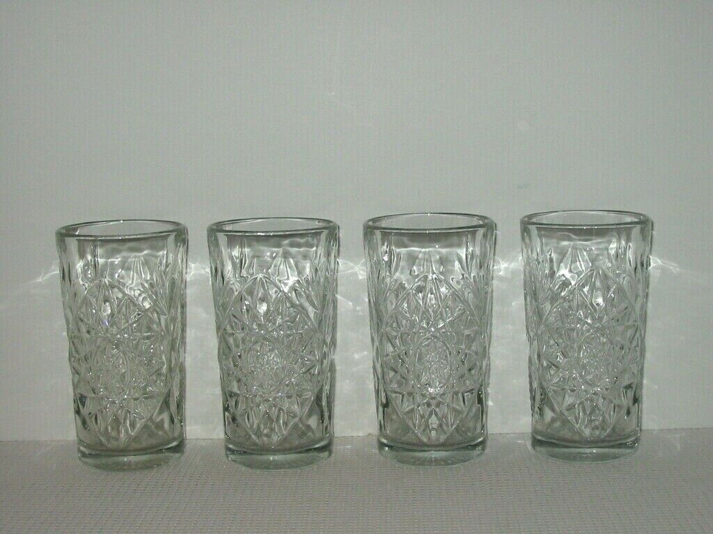 Set Lot 4 Libbey HOBSTAR Star Of David 6 1/4 Crystal Water Tumblers Glasses 2 - $15.99
