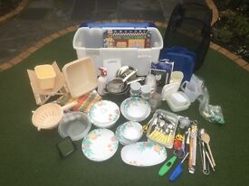 ESSENTIAL CAMPING EQUIPMENT IN STORAGE BOX