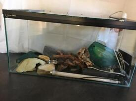Glass vivarium with accessories, everything you need