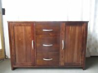 MODERN DARK STAIN WOOD EFFECT THREE DRAWER SIDEBOARD FREE DELIVERY