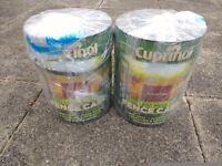 2 x 5 L cans of Cuprinol Less Mess Fence Care Paint in Autumn Red + 1 can free