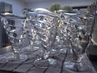 6 x Sundae Dessert bowl, Fortuna/Cabana Ice cream clear glass
