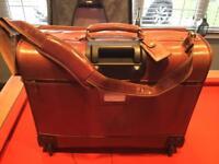 Italian Leather Suitcase In Cognac