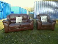 Quality Brown Leather 2 Seater Sofa+Armchair
