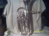 A SUPERB PROFESSIONAL TENOR HORN In SILVER PLATE , SPOTLESS CONDITION