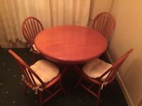 Round Pine Dining Table & Matching 4 Chairs