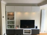 Living Room furniture set: Entertainment Unit, Glasses Cabinet + Extra Storage with built-in lights