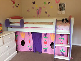 Girls Midsleeper bed. White wood with pink ends and lilac ladder