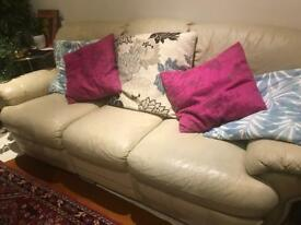 Comfortable, Cosy, Modern, Cream Leather Sofa