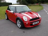 2005 05 MINI COOPER 1.6 RED /WHITE ROOF MIRRORS AND STRIPES ON BONNET