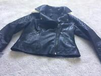 Topshop size 10 faux leather bikers jacket
