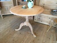 Farmhouse rustic solid pine round table small bistro table.