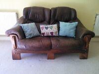 Two Seater Leather Sofa (German origin), firm