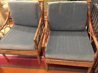 2 bamboo chairs