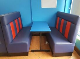 Leather fast food shop seat and table