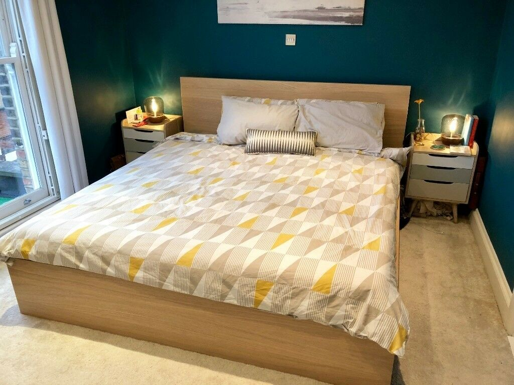 Bedombouw 180 200.Ikea Malm Super King Size Bed 180 X 200 Cm White Stained Oak