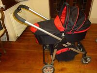 iCandy pram & stroller combined, excellent condition, red & black