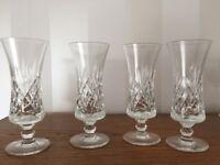 4 x Vintage Crystal Sherry Schooner Glasses - Maker Unknown