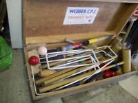 SOLD :) C P J Webber lawn croquet and snooker set in wooden box. Viewing welcome. Oxfordshire.
