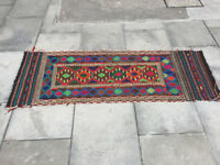 Kelim runner rug , in great colours . Size 163cm x 61cm