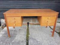 vintage retro Danish teak oak wooden mid century office work desk 60s 70s drawers double pedestal