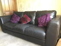 Furniture Village brown leather 3 seater sofa and matching armchair