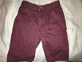Boys burgundy shorts