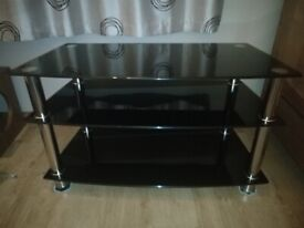 TV Stand Black Glass 3 Tier