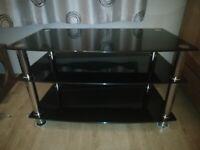 TV Stand Black Glass 3 Tier