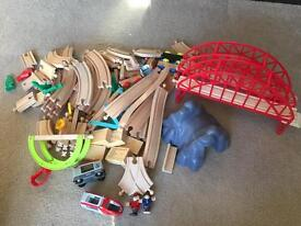 Brio and wooden train track set toy