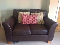 Marks and Spencer Abbey range 2 dark brown leather small sofas and matching armchair.