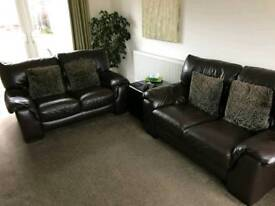2x Brown 2-seater Leather Couches