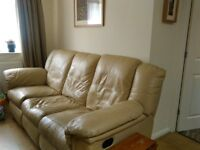 Beige leather sofa looking for new home