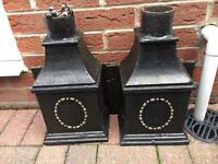 2 Cast iron old drainpipe pieces now used as planters