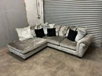 FREE DELIVERY SILVER CRUSHED VELVET L-SHAPED CORNER SOFA & FOOTSTOOL GOOD CONDITION