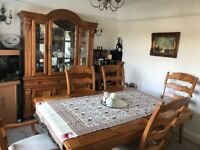 Dining table and chairs plus matching cabinet