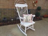 SOLID PINE ROCKING CHAIR PAINTED WITH LAURA ASHLEY PALE DOVE GREY IN EXCELLENT CONDITION