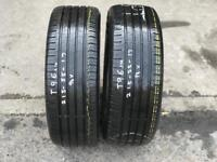 2 part worn tyres 215/55/17 CONTINENTAL CONTIECOCONTACT 5