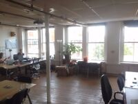 Desk Space in Dalston Open Plan Studio Office Space Victorian Warehouse Shacklewell Lane 700 sq feet