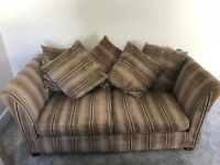 Brown/beige striped sofa