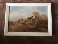 Landscape Oil painting on canvas signed and dated 1909