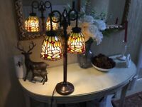 Tiffany Style Double Light Table Lamp, Featuring Dragonfly Design.